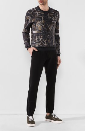 Мужские шерстяные джоггеры LORO PIANA темно-серого цвета, арт. FAI9493 | Фото 2 (Материал внешний: Шерсть; Длина (брюки, джинсы): Стандартные; Силуэт М (брюки): Джоггеры; Мужское Кросс-КТ: Брюки-трикотаж, Джоггеры-одежда)