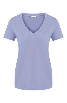 Женская хлопковая футболка HANRO синего цвета, арт. 077876 | Фото 1