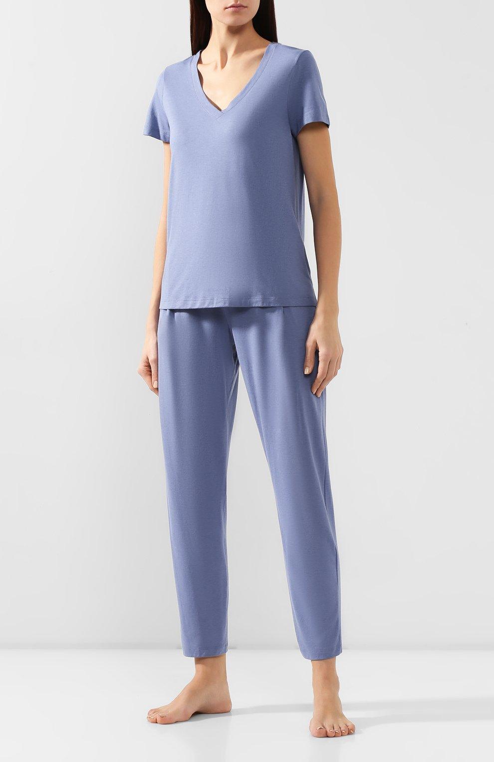 Женская хлопковая футболка HANRO синего цвета, арт. 077876 | Фото 2