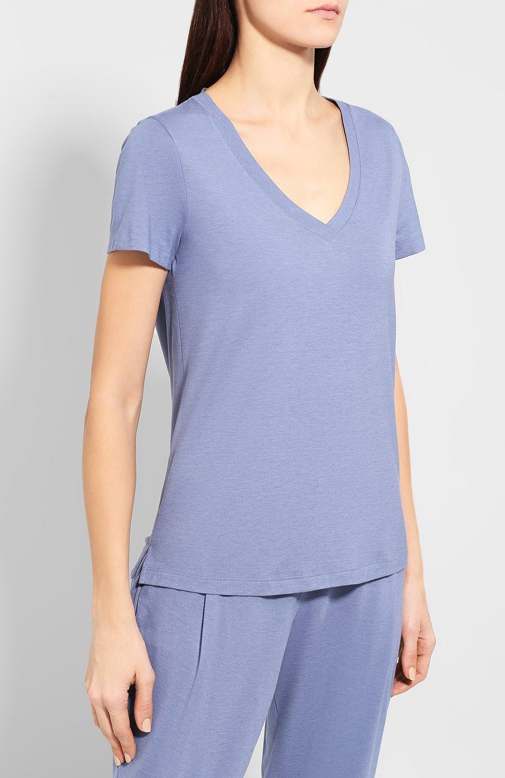 Женская хлопковая футболка HANRO синего цвета, арт. 077876 | Фото 3
