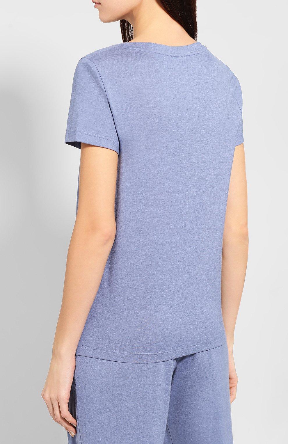 Женская хлопковая футболка HANRO синего цвета, арт. 077876 | Фото 4