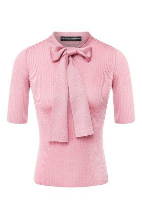 Женская пуловер из вискозы DOLCE & GABBANA светло-розового цвета, арт. FX668T/JAIDM | Фото 1