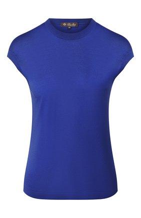 Женский топ из смеси шелка и хлопка LORO PIANA синего цвета, арт. FAI4414 | Фото 1