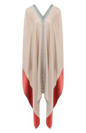 Женская пончо из смеси шелка и кашемира LORO PIANA бежевого цвета, арт. FAI6578 | Фото 1