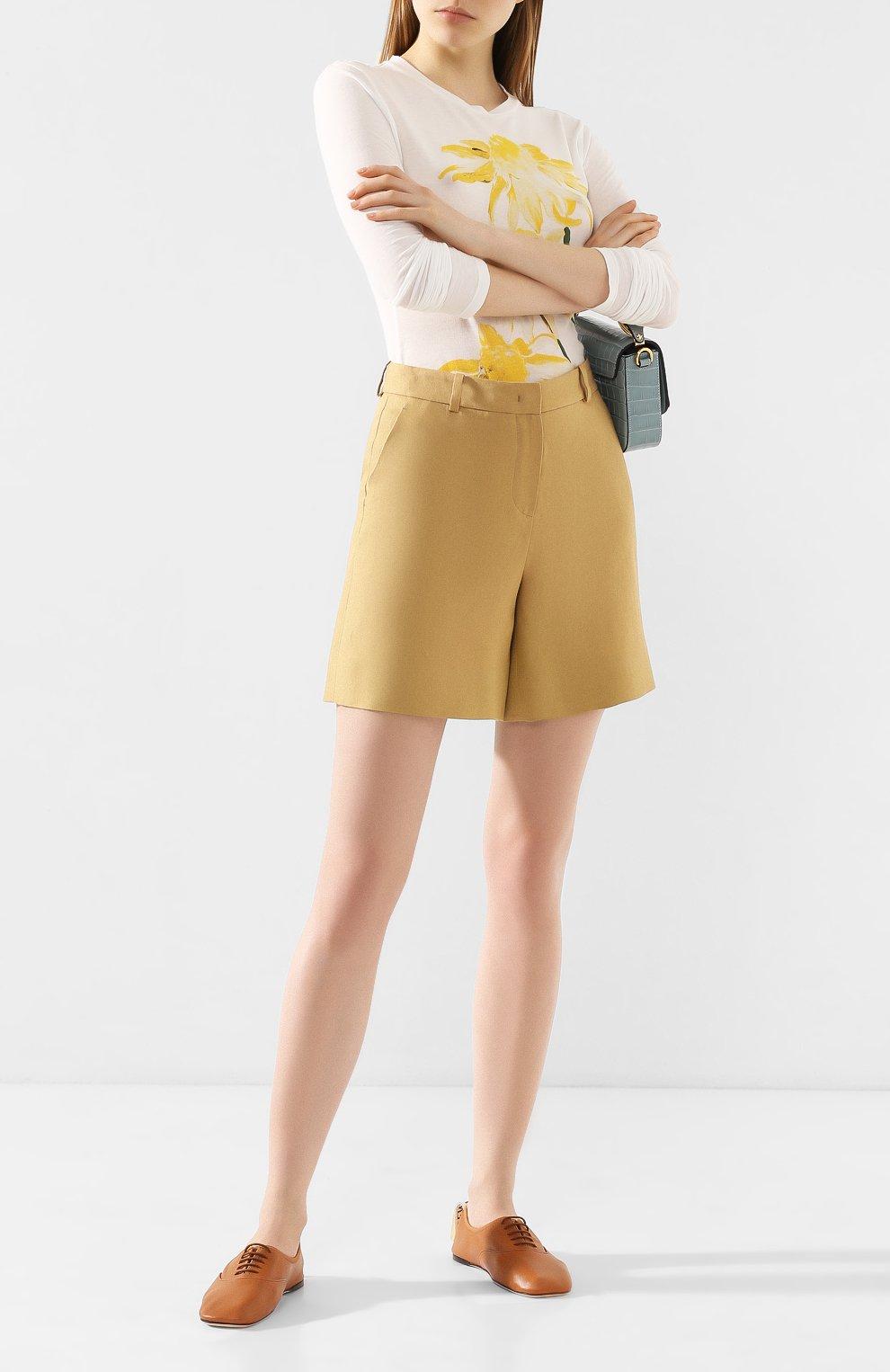 Женские льняные шорты LORO PIANA бежевого цвета, арт. FAI0750 | Фото 2