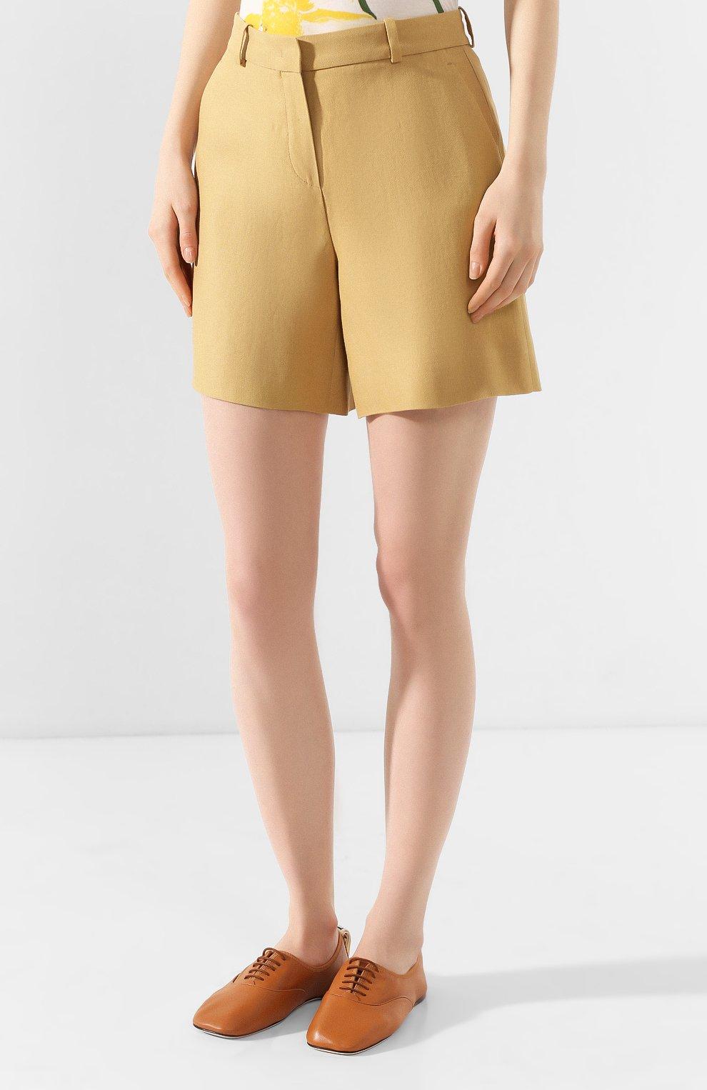 Женские льняные шорты LORO PIANA бежевого цвета, арт. FAI0750 | Фото 3
