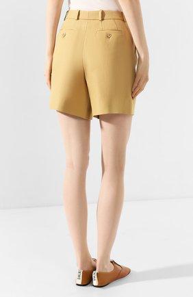 Женские льняные шорты LORO PIANA бежевого цвета, арт. FAI0750 | Фото 4