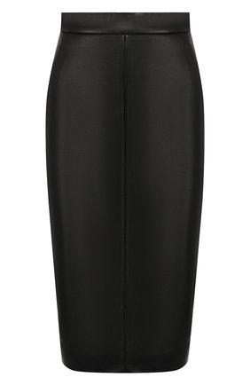 Женская кожаная юбка MASLOV черного цвета, арт. UT001   Фото 1