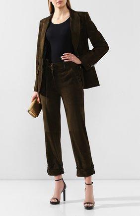 Женские замшевые брюки TOM FORD хаки цвета, арт. PAL689-LEX226 | Фото 2
