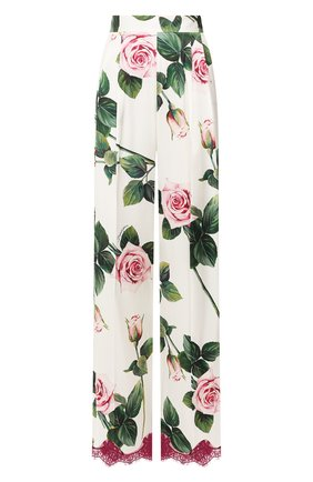 Женские брюки из смеси шелка и хлопка DOLCE & GABBANA белого цвета, арт. FTBMYT/FSAZE | Фото 1