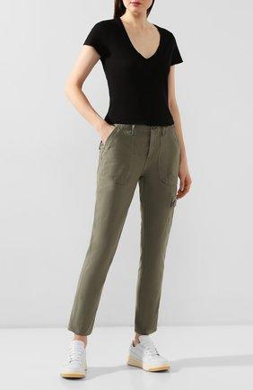 Женские хлопковые брюки FRAME DENIM хаки цвета, арт. SEP864R | Фото 2