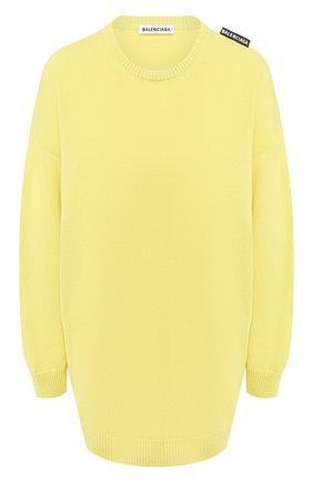 Женская кашемировый свитер BALENCIAGA желтого цвета, арт. 595116/T4099 | Фото 1