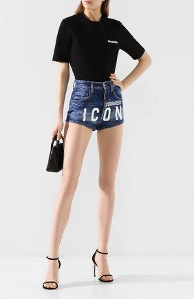 Женская хлопковая футболка DSQUARED2 черного цвета, арт. S80GC0002/S23009 | Фото 2