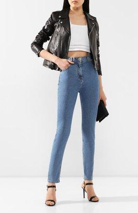 Женские джинсы BALMAIN голубого цвета, арт. TF15460/D007   Фото 2