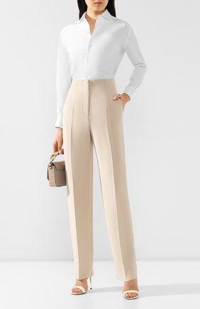 Женские шелковые брюки GIORGIO ARMANI бежевого цвета, арт. 0SHPP0A8/T0010 | Фото 2
