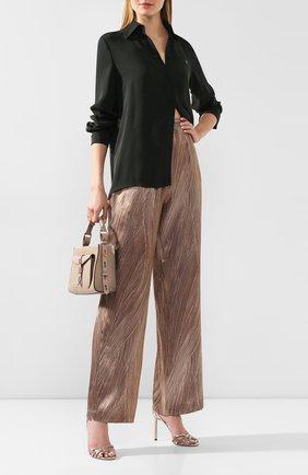 Женские шелковые брюки KITON коричневого цвета, арт. D49128K09S83 | Фото 2