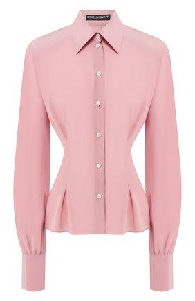 Женская шелковая блузка DOLCE & GABBANA светло-розового цвета, арт. F5L47T/FU1A8 | Фото 1