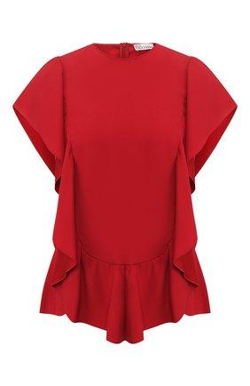 Женский топ с оборками REDVALENTINO красного цвета, арт. TR3AAB05/0F1 | Фото 1