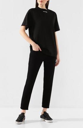 Женская хлопковая футболка GOLDEN GOOSE DELUXE BRAND черного цвета, арт. G36WP024.C2 | Фото 2