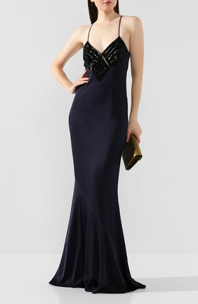 Женское платье-макси GALVAN LONDON темно-синего цвета, арт. 1815 BEADED DIAM0ND | Фото 2