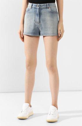 Женские джинсовые шорты VALENTINO голубого цвета, арт. TB3DD09M55D | Фото 3 (Женское Кросс-КТ: Шорты-одежда; Кросс-КТ: Деним; Длина Ж (юбки, платья, шорты): Мини; Материал внешний: Хлопок; Стили: Кэжуэл; Статус проверки: Проверена категория)