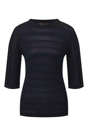 Женский пуловер из смеси кашемира и шелка LORO PIANA темно-синего цвета, арт. FAI9412   Фото 1