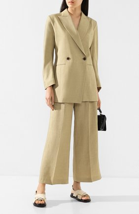 Женские брюки из смеси вискозы и льна AKIRA NAKA бежевого цвета, арт. AR2019-BE | Фото 2