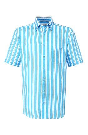 Мужская хлопковая рубашка ZILLI голубого цвета, арт. MFT-00703-84062/RZ02 | Фото 1 (Длина (для топов): Стандартные; Рукава: Короткие; Материал внешний: Лен; Принт: Полоска; Случай: Повседневный)