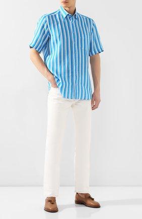 Мужская хлопковая рубашка ZILLI голубого цвета, арт. MFT-00703-84062/RZ02 | Фото 2 (Длина (для топов): Стандартные; Рукава: Короткие; Материал внешний: Лен; Принт: Полоска; Случай: Повседневный)