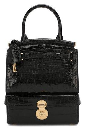 Женская сумка rl50 large из кожи аллигатора RALPH LAUREN черного цвета, арт. 435785894/AMIS | Фото 1