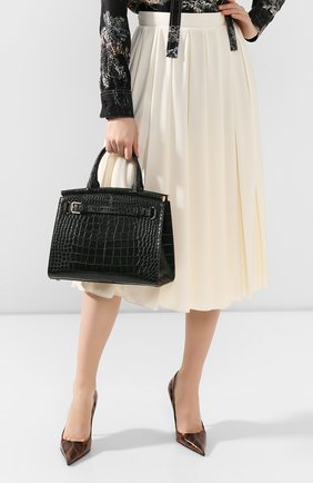 Женская сумка rl50 large из кожи аллигатора RALPH LAUREN темно-зеленого цвета, арт. 435769042/AMIS | Фото 2