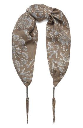 Женский шелковый платок BRUNELLO CUCINELLI светло-бежевого цвета, арт. MH973SX189 | Фото 1