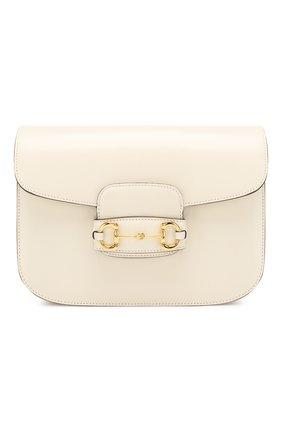 Женская сумка 1955 horsebit GUCCI белого цвета, арт. 602204/1DB0G   Фото 1 (Материал: Натуральная кожа; Сумки-технические: Сумки через плечо; Размер: medium)