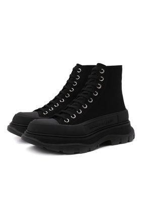 Женские текстильные ботинки ALEXANDER MCQUEEN черного цвета, арт. 611706/W4L32 | Фото 1 (Материал внешний: Текстиль; Подошва: Платформа; Материал внутренний: Натуральная кожа; Женское Кросс-КТ: Военные ботинки; Каблук высота: Низкий)
