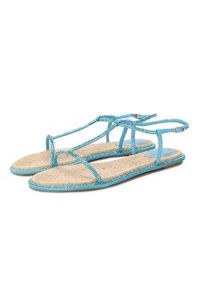 Женские текстильные сандалии amalia RENE CAOVILLA голубого цвета, арт. C10421-010-R001V875 | Фото 1
