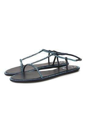 Женские текстильные сандалии amalia RENE CAOVILLA синего цвета, арт. C10427-010-R001X626 | Фото 1