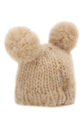 Детского одежда для игрушки вязаная шапка MAILEG бежевого цвета, арт. 16-8949-50 | Фото 2