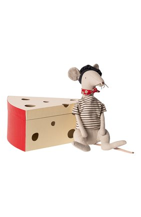 Детского игрушка крыса в сырной коробке MAILEG светло-серого цвета, арт. 16-9970-01 | Фото 1