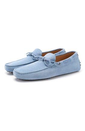 Мужские замшевые мокасины TOD'S голубого цвета, арт. XXM0GW05470RE0 | Фото 1