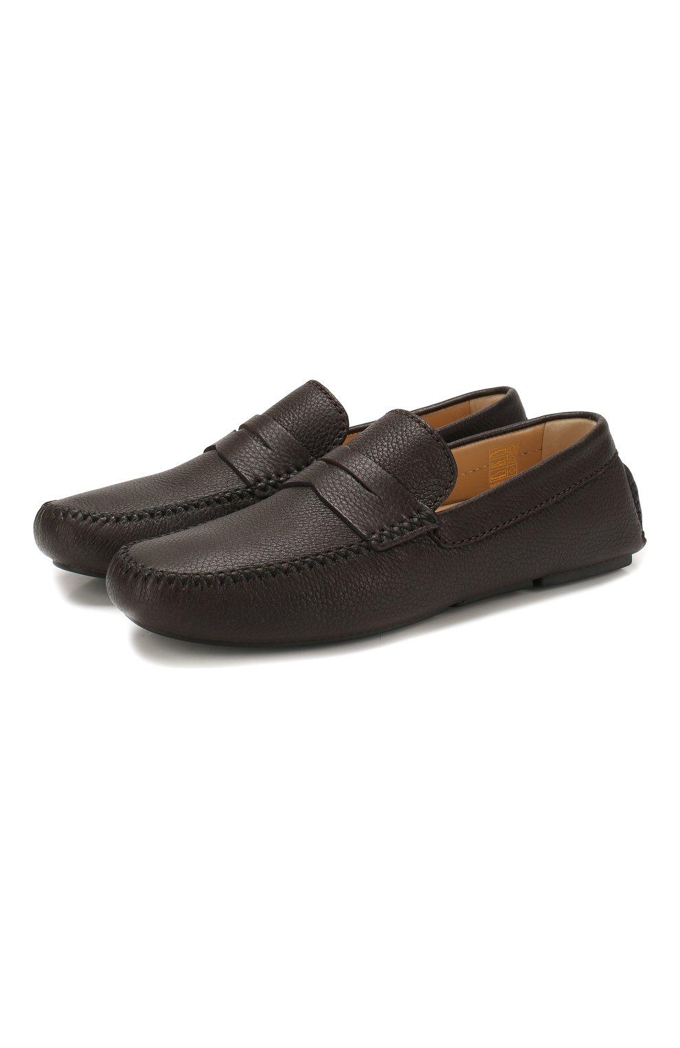 Мужские кожаные мокасины BRIONI темно-коричневого цвета, арт. QYP00L/P7731   Фото 1