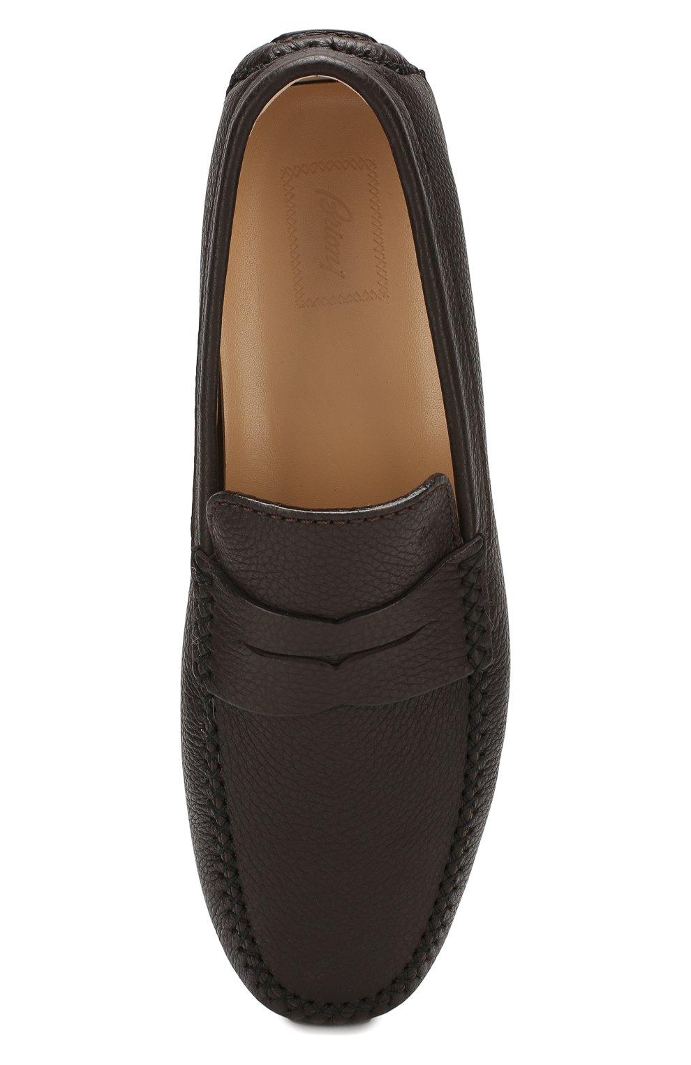 Мужские кожаные мокасины BRIONI темно-коричневого цвета, арт. QYP00L/P7731   Фото 5
