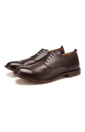 Мужской кожаные дерби MOMA темно-коричневого цвета, арт. 2AS024-CU   Фото 1