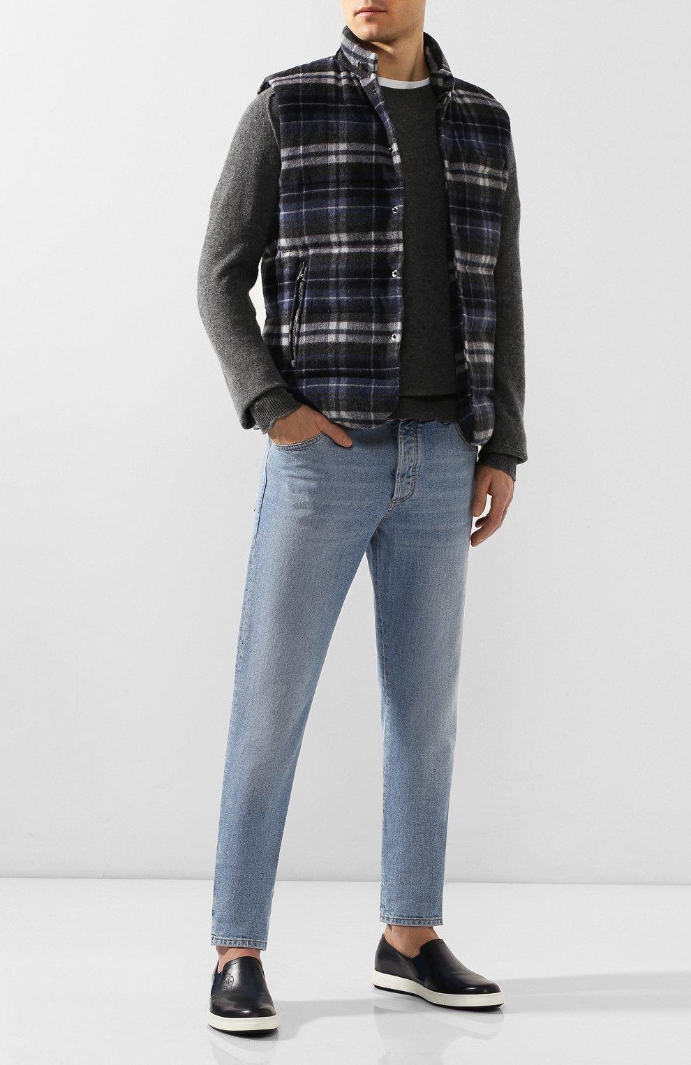 Мужские кожаные слипоны BERLUTI темно-синего цвета, арт. S4994-002 | Фото 2