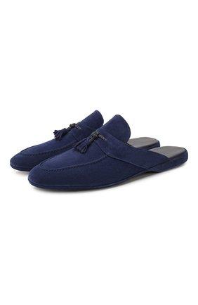 Мужского замшевые домашние туфли FARFALLA синего цвета, арт. G2NT | Фото 1