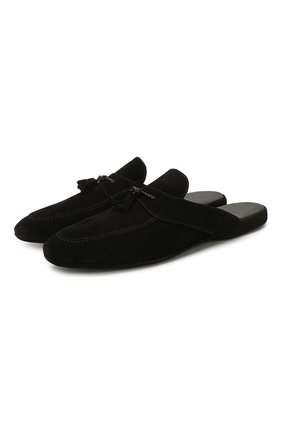 Мужского замшевые домашние туфли FARFALLA черного цвета, арт. G2NT | Фото 1 (Материал внутренний: Натуральная кожа; Мужское Кросс-КТ: тапочки-обувь; Материал внешний: Замша)