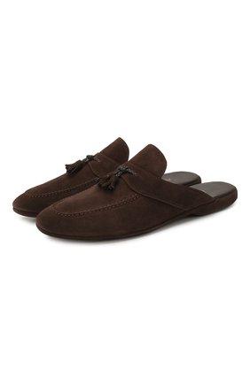 Мужского замшевые домашние туфли FARFALLA темно-коричневого цвета, арт. G2NT | Фото 1