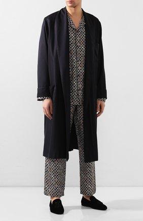 Мужского текстильные домашние туфли FARFALLA темно-синего цвета, арт. G20NL | Фото 2