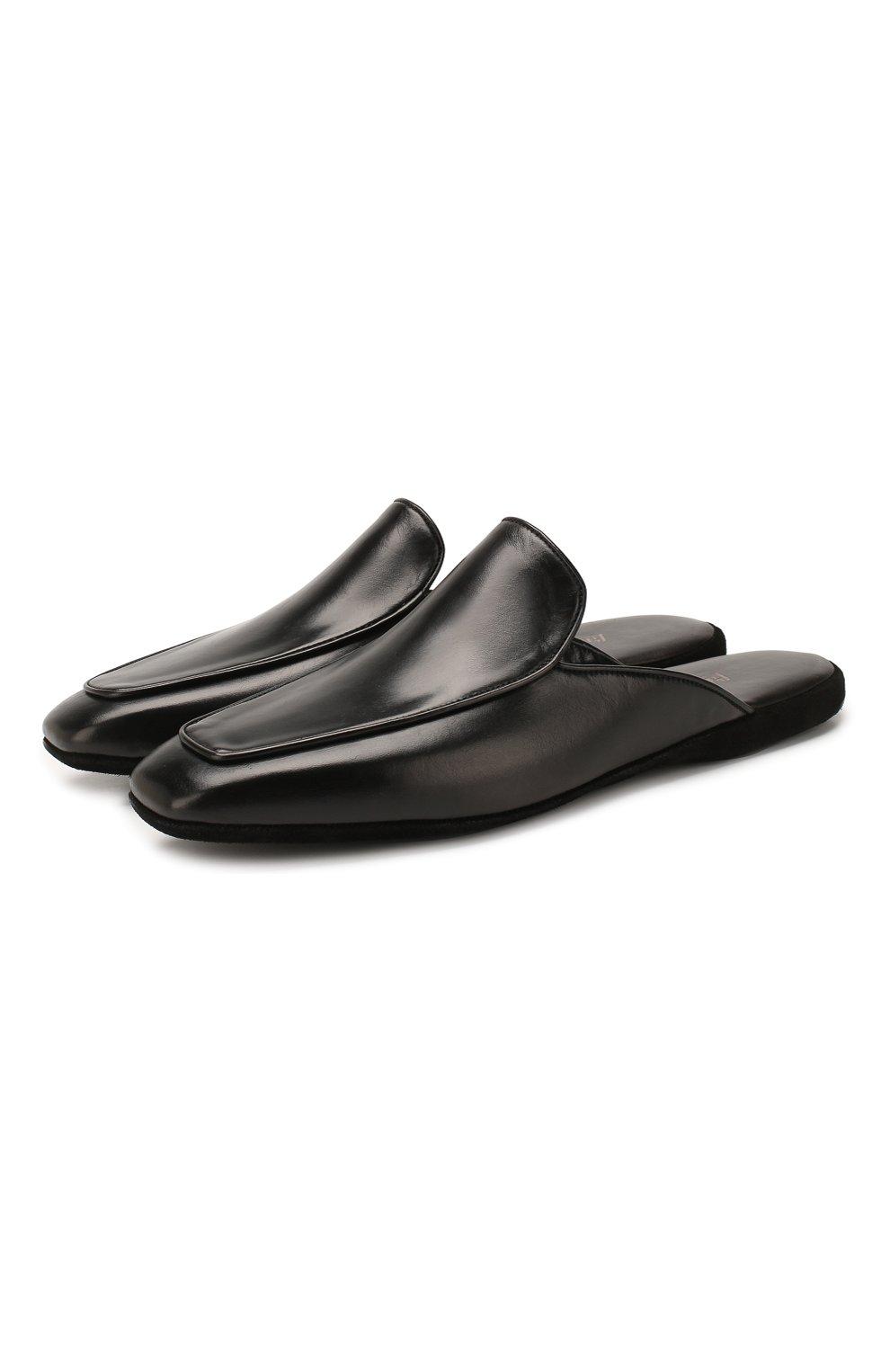 Мужского кожаные домашние туфли FARFALLA черного цвета, арт. D5K   Фото 1 (Материал внутренний: Натуральная кожа, Текстиль; Мужское Кросс-КТ: тапочки-обувь)