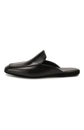 Мужского кожаные домашние туфли FARFALLA черного цвета, арт. D5K   Фото 3 (Материал внутренний: Натуральная кожа, Текстиль; Мужское Кросс-КТ: тапочки-обувь)