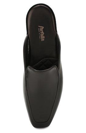 Мужского кожаные домашние туфли FARFALLA черного цвета, арт. D5K   Фото 5 (Материал внутренний: Натуральная кожа, Текстиль; Мужское Кросс-КТ: тапочки-обувь)